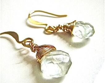 Phrenite Briolette Teardrop Earrings, Light Green Gemstone Earrings in Gold