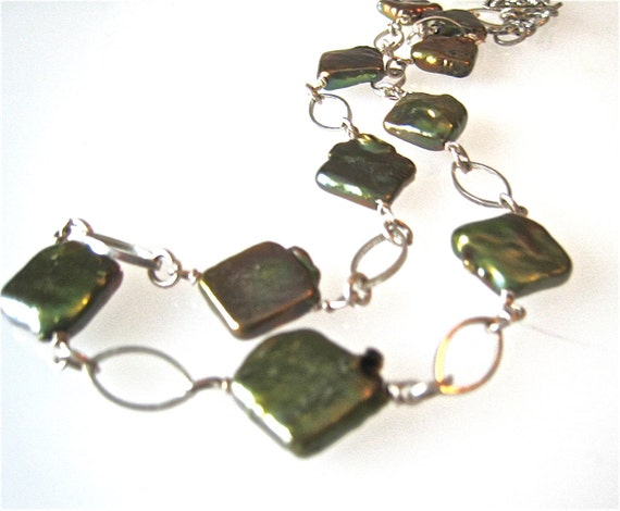 Olive Green Pearl Silver Link Necklace