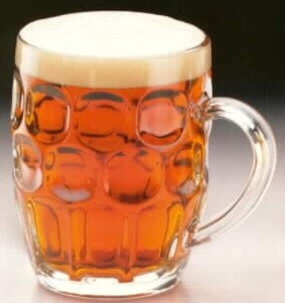 Ravenhead English Glass Dimple Beer Mugs One Pint Set Of Four