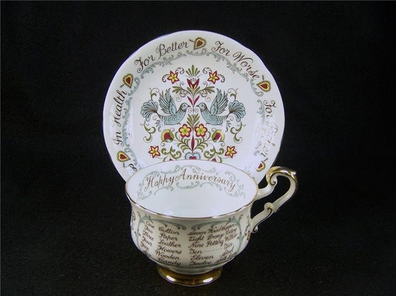 Vintage English Bone China Paragon Anniversary Cup and Saucer Staffordshire
