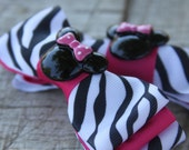 Minnie Mouse Animal Kingdom Zebra and Hot Pink Triple Layered Bows