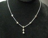 Vintage 925 Silver NOS Stars on Snake Chain Necklace
