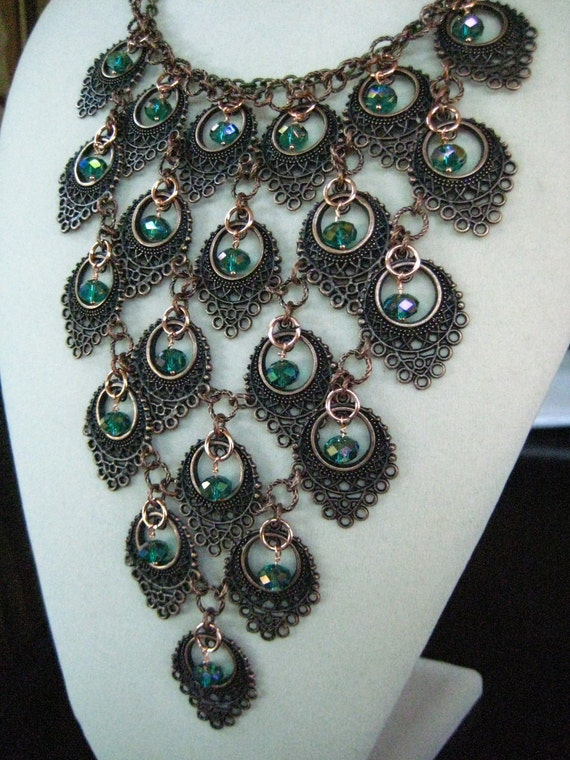 OOAK The Copper Peacock Crystal  Bib Statement Necklace zoeJane