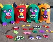 RESERVED Handmade, Stuffed, Felt Mr. Potato-head Monsters