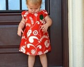 Tunic Dress - Short Sleeve - Dena Design's Snow Flower Snow Bud in Red with Green Crochet Flower--ONLY 1 LEFT