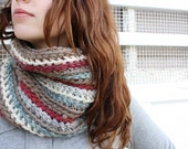 Taupe, Merlot, White, and Cloudy Blue Kaleidoscope Cowl Scarf