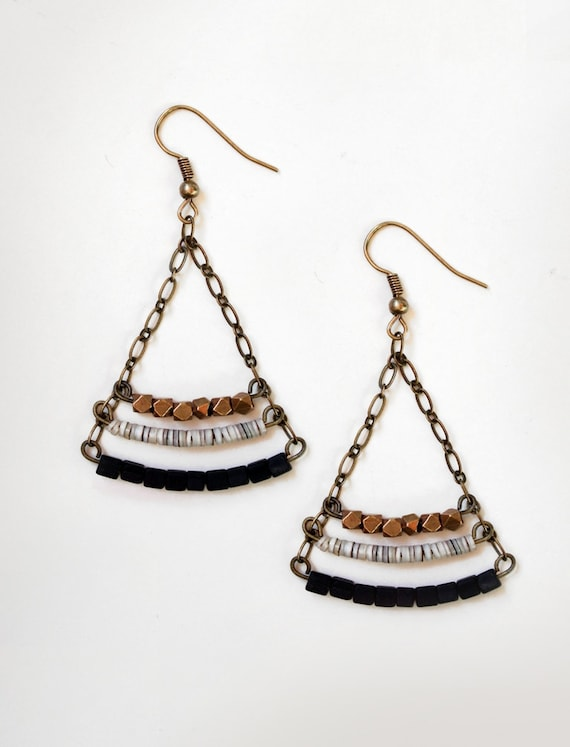 Onyx Cube Triangle Earrings