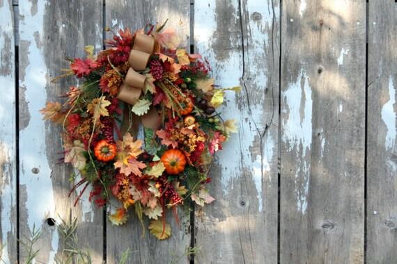 Cornucopia Wreath, Berries, Fruit, Gourds, Pumpkins, Leaves, Pine