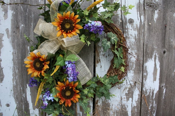 Garden Wreath with Sunflowers, Lilac, Ivy, Cream Bow