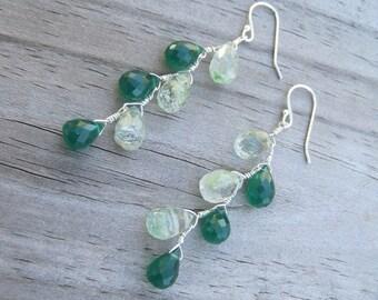 Agate Onyx Earrings- Silver, Zig Zag Design with Gemstones