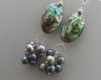 Pearl Cluster Earrings with Abalone in Silver