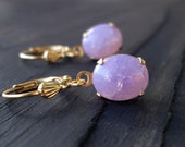 10% Off Holiday Sale 1960s Vintage Amethyst Opal  Earrings on 14K Gold Filled Ear Wires