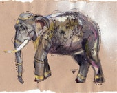 Elephant with tattoos - Print