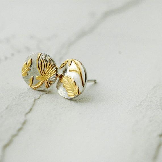 Golden Victorian vermeil floral studs