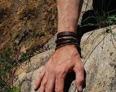 Mens Leather Bracelet | BLUE KNIGHT | Womens Leather Bracelet, Leather Necklace , Turquoise, Sterling Silver, Antiqued Bracelet