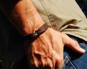 Mens Sterling Chain Leather Bracelet |The Eagle |Leather Sterling Cuff Bracelet with Black Onyx Stones, Mens or Womens, Custom Bracelet