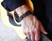 Men's  Leather Bracelet Cuff  The Godfather  Leather, Sterling Silver, Pyrite and Black Onyx Stone Bracelet, Women's Bracelet