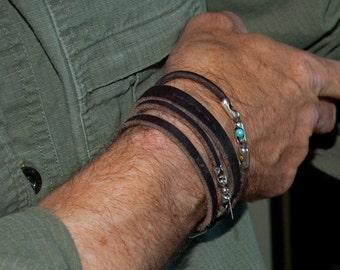Mens Leather Bracelet |Spiral Jetty | Mens or Womens Sterling, Stone, Leather Cuff, Leather Bracelet