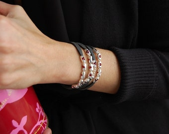 The Bella, Sterling Silver, Swarovski Crystal, Leather Bracelet, Necklace or Anklet, Wrap Womens bracelet,, Cuff Braceler