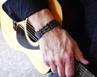 Men's  Leather Bracelet Cuff |The Godfather| Leather, Sterling Silver, Pyrite and Black Onyx Stone Bracelet, Women's Bracelet