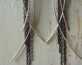 Silver and Black Wispy Earrings