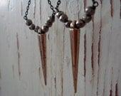 Pyrite with Brass Spike Earrings