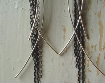 Silver and Black Wispy Earrings