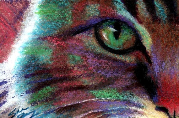 original art drawing aceo card green eyed colorful cat