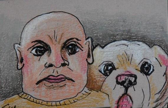 original art aceo card drawing Dog-Owner Look alike-  Mastiff