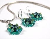 Pridot Star - Beaded Swarovski Crystal Jewelry Set - Earrings, Pendant, Necklace