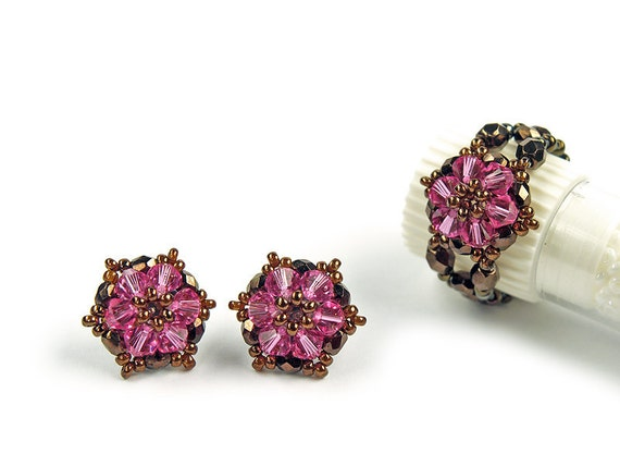 Rose Little Star - Swarovski Crystal Beadwoven - handwoven - Swarovski Earrings Ring jewelry set - Pink Bronze Brown