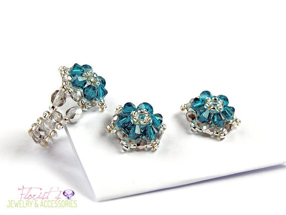 Swarovski Crystal Beaded Bead-woven Earrings Ring Set Blue Zicon Teal Little Star Handmade Unique