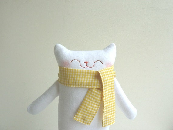 Cat Plush - Mr.White with Scarf - Etsy Project Embrace