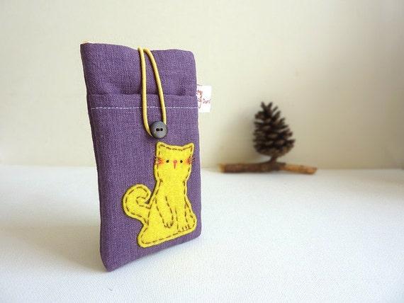 Cat IPhone Case, Cat Iphone Sleeve, Cat Mobile Cover, Cell Phone Case Cat, hand sew Iphone case - Cat