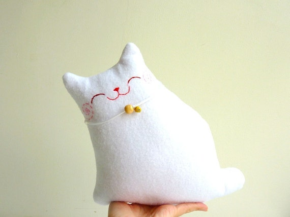 RESERVED FOR Oritb - Cat Plush, Stuffed Cat, Plush Animal - Little Snow