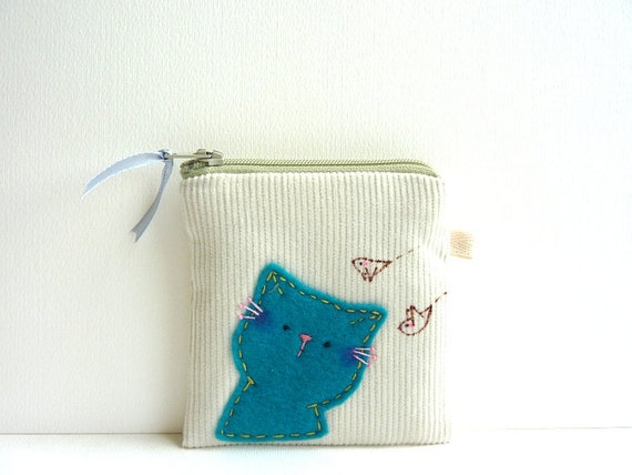 Purse, Cat Coin Purse, Cat Zipper Pouch, Coin Purse