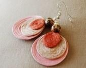 pink 3 disc acai earrings