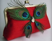 Peacock Feather BUTTERFLY Pure Luxury Handmade Dupioni Bridal Silk Gift Guide Featured Clutch FREE SHIPPING