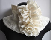 Beauty Parade Fashion Glamour Felted Merino and Silk Huge Scarf/Cowl/Neckpiece With Hand Pleated Frill Accent Huge Pearls Beaded FREE SHIPPING