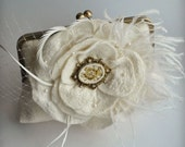 Purse, Bag, Clutch, Hand Embroidered Cameo Oistrich,Goose Feathers, Freshwater Pearls in Ivory