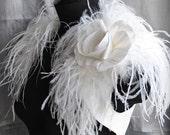 Wedding Shrug, Bolero Bridal Ostrich Dupioni Silk /BIRd Of PARADISe/ Handmade Silk Rose Brooch Satin Lined, Gatsby Style