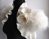 SWAN PRINCESS Wedding Shrug, Bolero, Jacket, Felt, Marabou Bridal Felted, Cap Sleeves, Roses,Brooch, Free Shipping