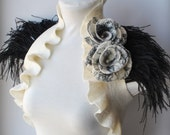 Bolero, Vest, Merino Wool, Two Roses corsage, Black Ostrich Feathers Shoulders LA LUNA 2013 Collection