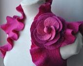 Felt Bolero Fuchsia, Shrug, Wedding Jacket, Huge Rose Corsage US Size 6, 2014 Design FUCHSIA  ROSE