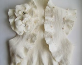 Bridal Felt Jacket Wedding Shrug Bolero Bridal Ivory, Two Roses Brooch, TianaCHE Cashmere Merino