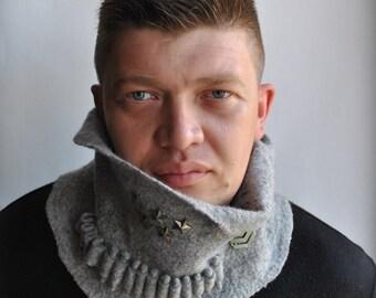 Unisex Scarf Cowl Men Neckwarmer SALE Grey Merino Felted For HIM Bandoleer Bullet Urban Military Homme