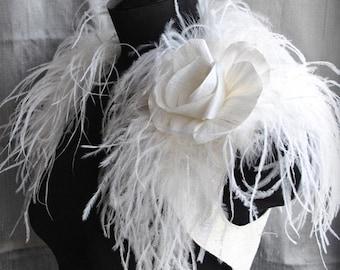 Wedding Shrug, Bolero Bridal, Silk Bridal Shrug, Ostrich Dupioni Silk /BIRd Of PARADISe/ Handmade Silk Rose Brooch Satin Lined, Gatsby Style