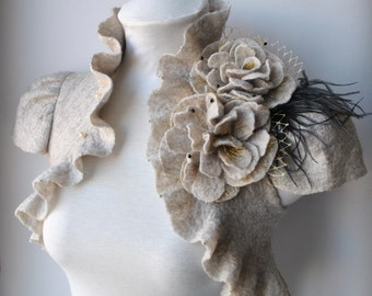 Wedding Bolero, Felt Bolero Shrug, Bridal Shrug,Bridal Bolero, Ecru LUXE /The LOVE Ball/ Cap Sleeves, Beige Champagne, Peony Brooch ON SALe