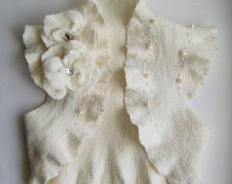 Bridal Felt Jacket Wedding Shrug Bolero Bridal Ivory, Two Roses Brooch, TianaCHE Cashmere Merino