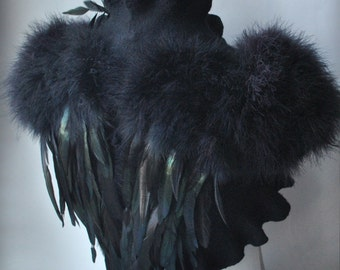 Bolero, Shrug Felted, SWAN LAKE, Goth Bridal, Feathers Wings, Black Felt Merino and Silk, Roses Corsage / Brooch, Marabou Sleeves30% Off